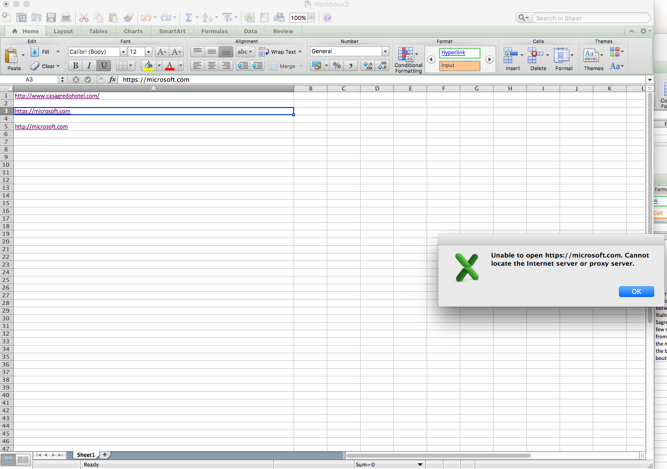 Cannot locate internet server or proxy excel