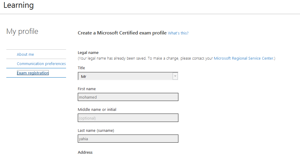 How To Change My Exam Registration Name Microsoft Community
