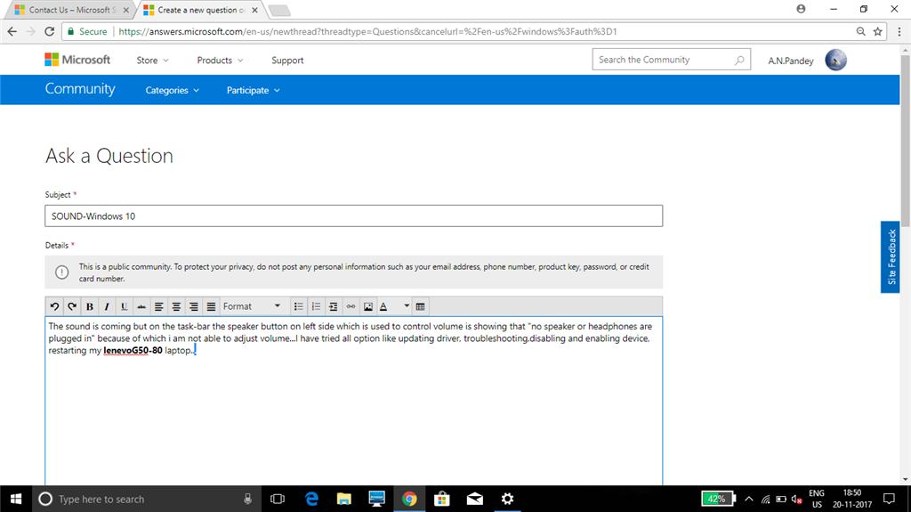 SOUND-Windows 10 - Microsoft Community