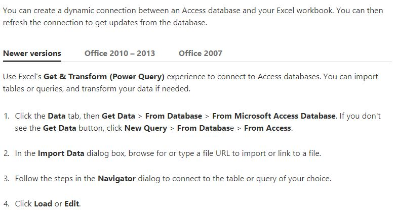 Cannot pull MS Access Query into Excel - Microsoft Community