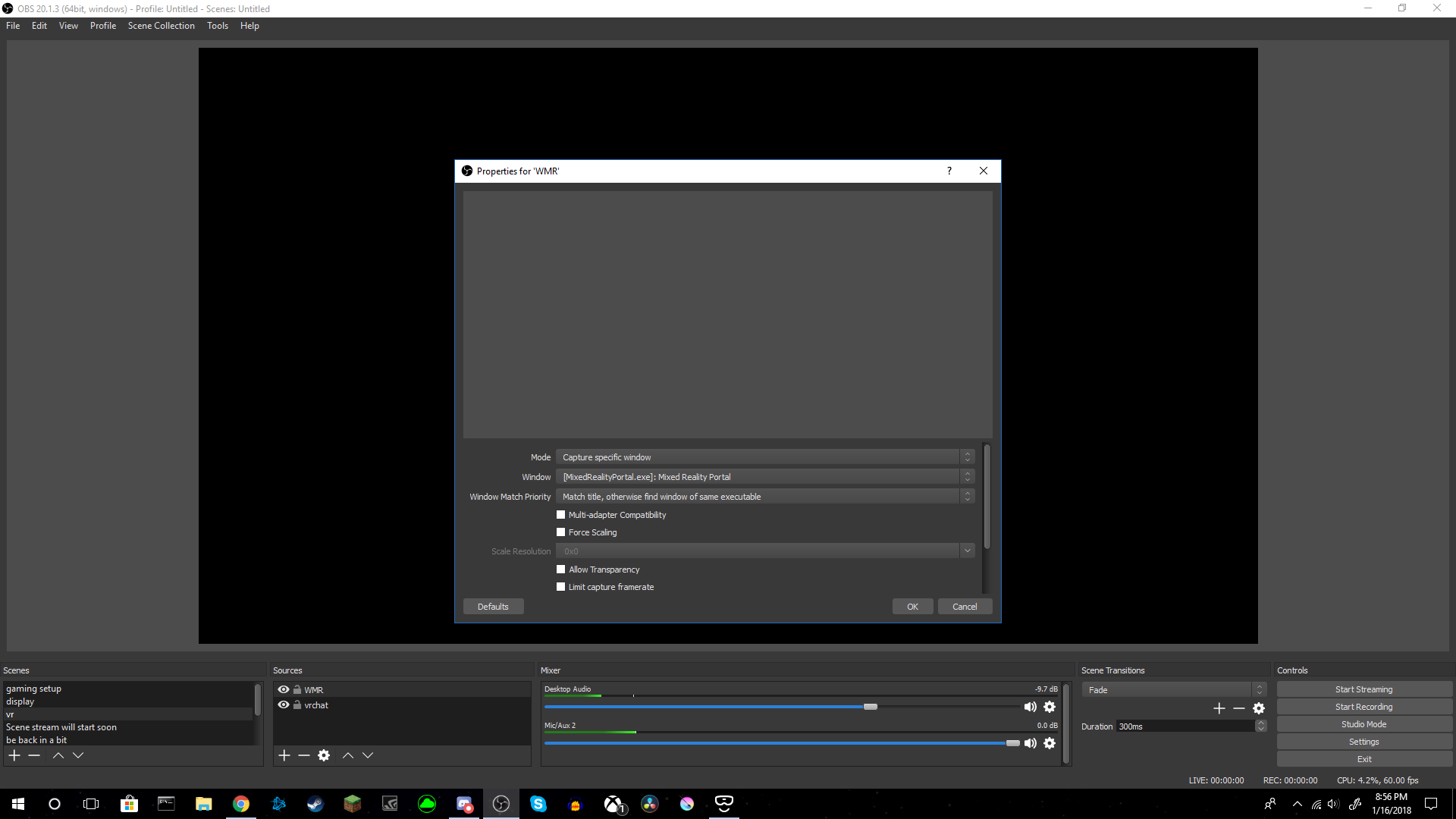 OBS wont record what I'm seeing in Lenovo explorer VR