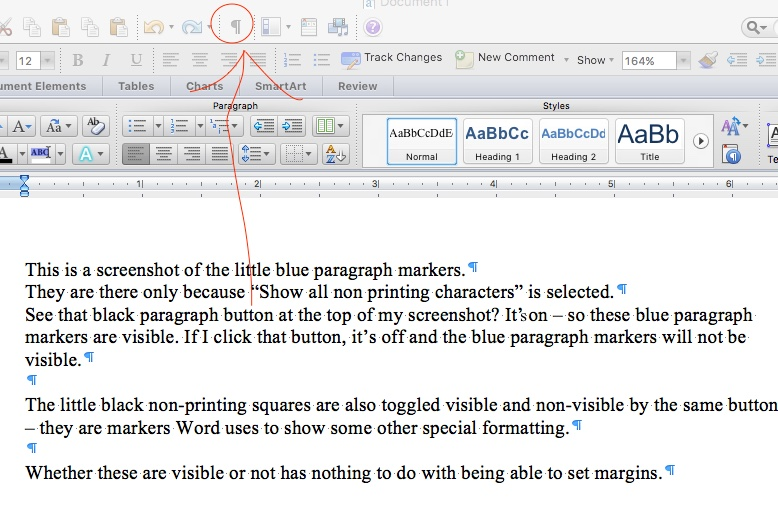 little blue paragraph symbols on mac