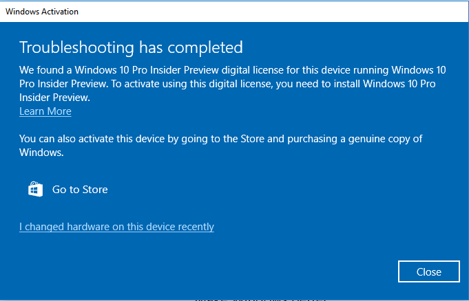 Activation error microsoft community we found a windows 10 pro insider preview digital license for this device running windows 10 pro insider preview to activate using this digital license ccuart Image collections