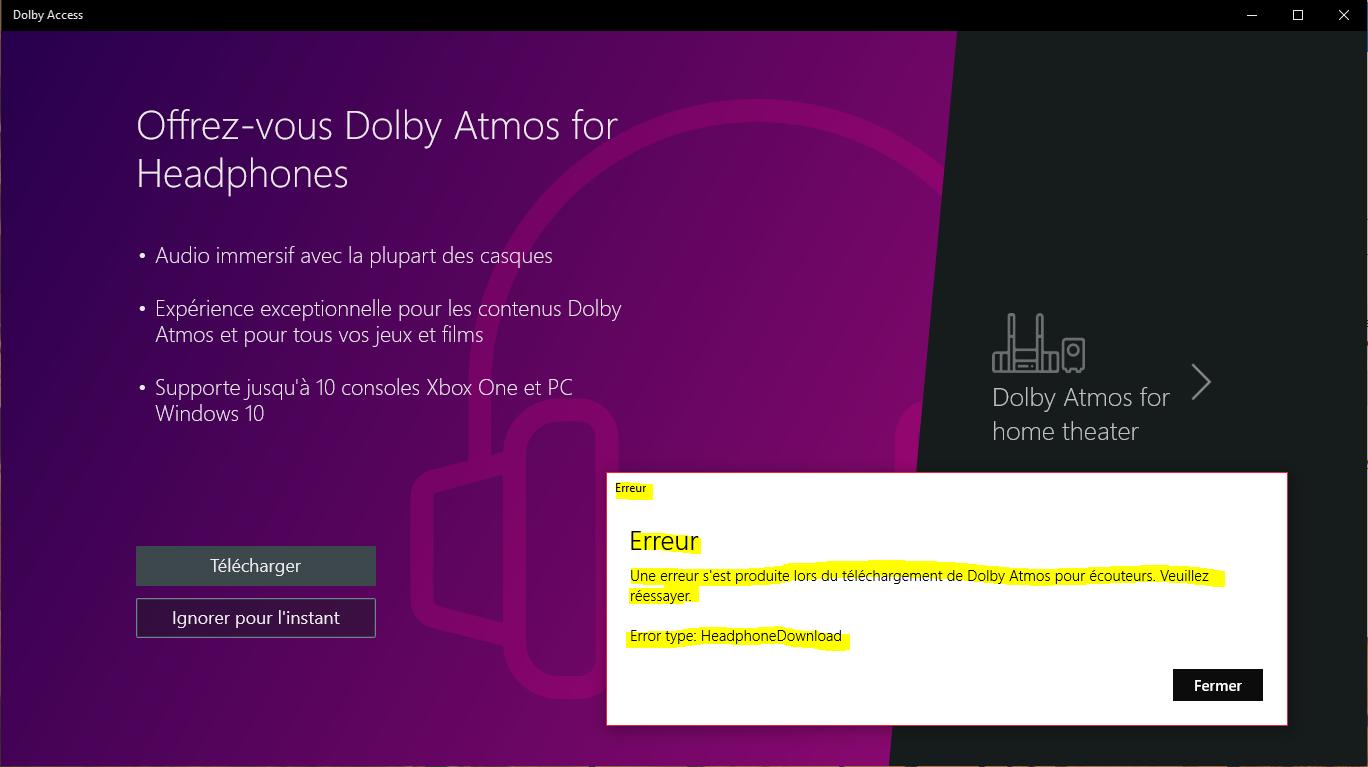 Dolby Atmos for Headphones ne veut pas se télécharger - Microsoft