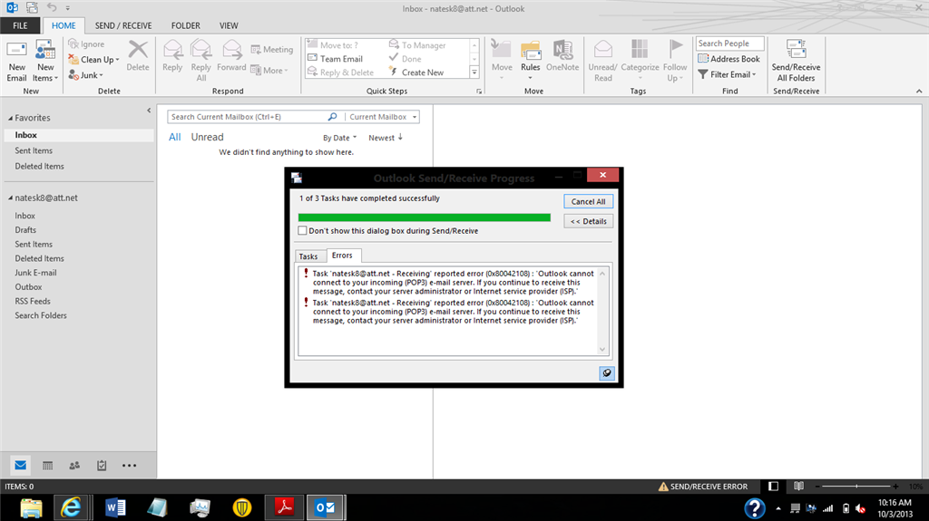 Setup Problem With Outlook 2013 On Wind8