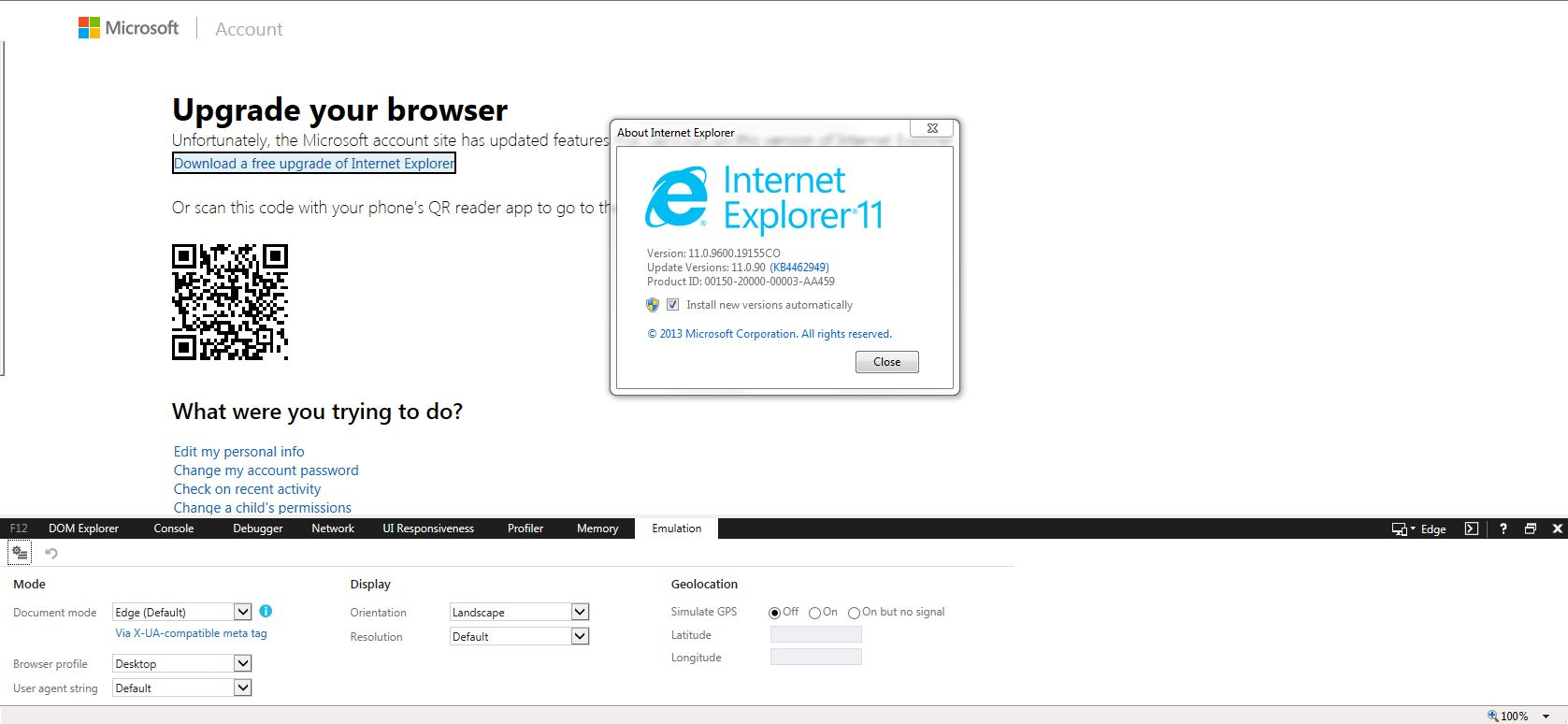 Internet Explorer 11 for Windows 7 - your browser is out of
