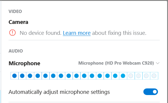 Skype doesn't recognize my camera even though it's using my
