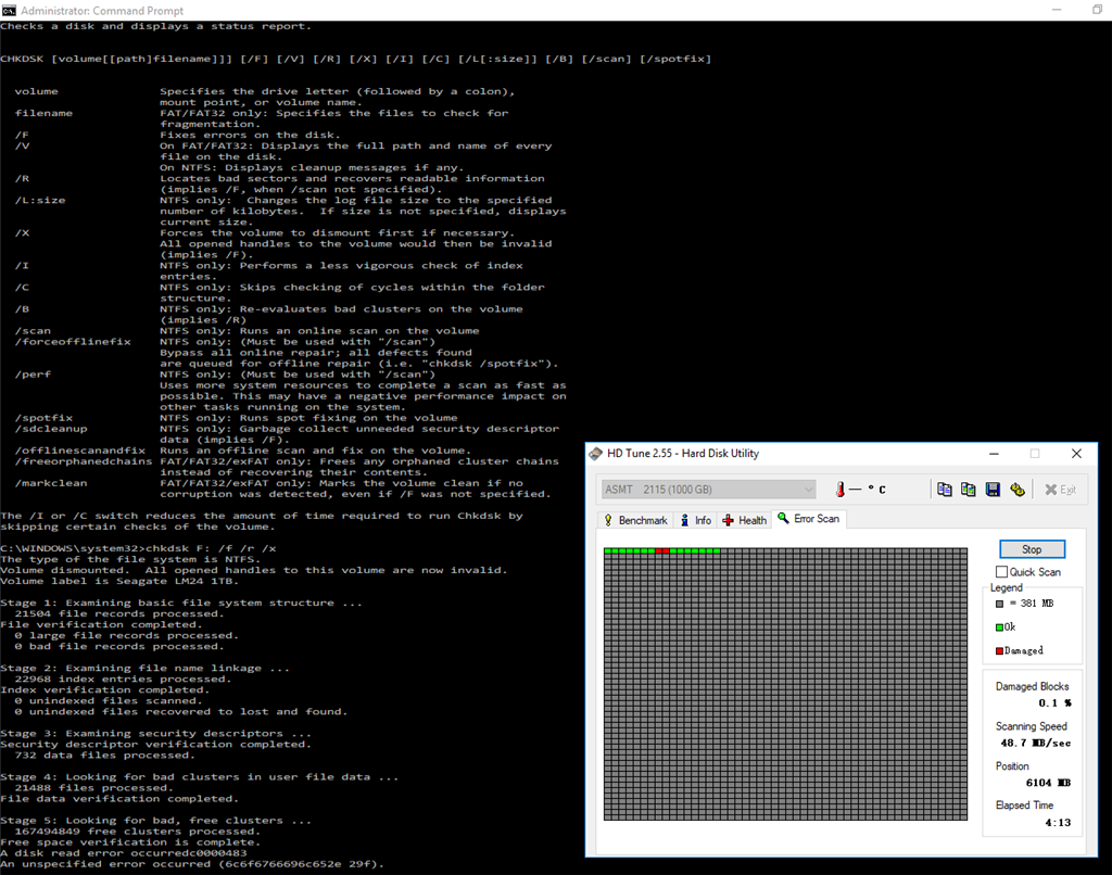 Further More Sometimes Chkdsk Will Fail To Finish At Very End See Attached Picture Returning Image