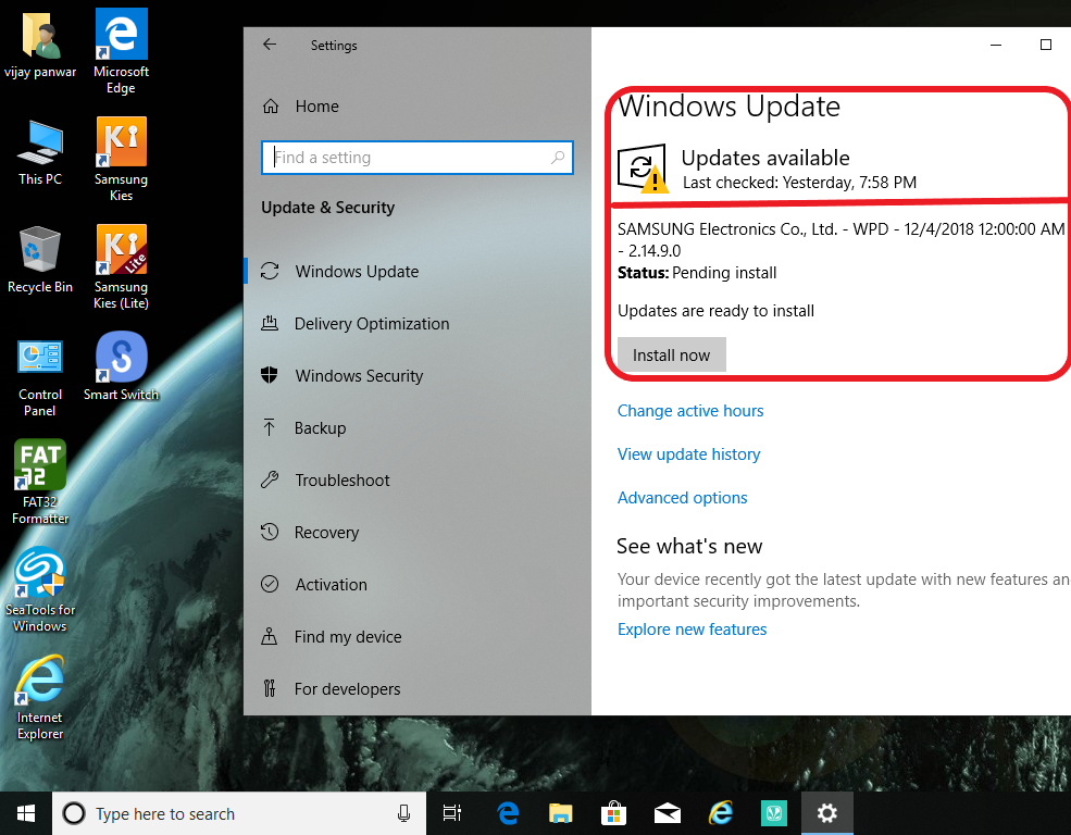 Samsung update failed to install , on windows 10 latest
