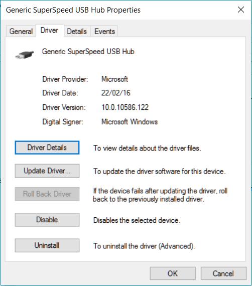 Generic SuperSpeed USB Hub stopped working on Windows 10 - Microsoft