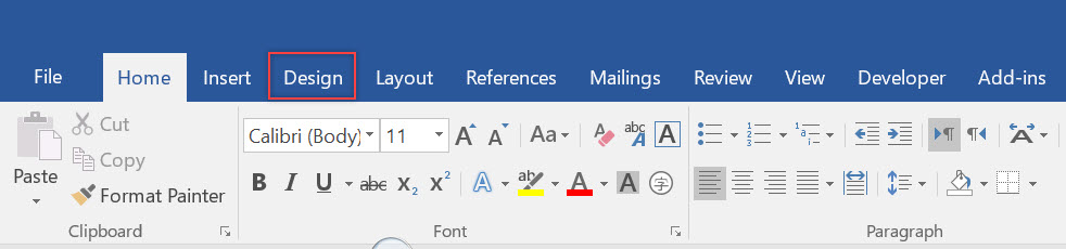 design tab in word microsoft community