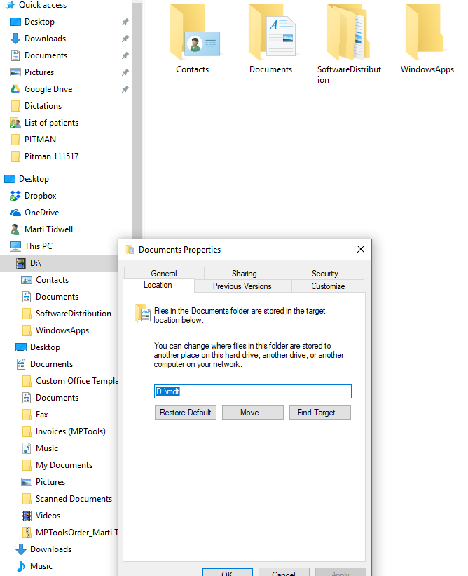 Restore default location in Windows 10 - Microsoft Community