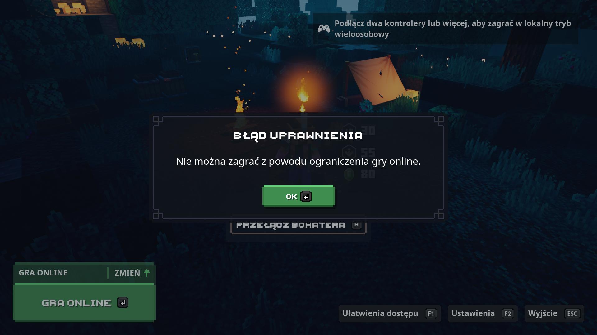 zablokowany tryb online w Minecraft Dungeons - Microsoft Community