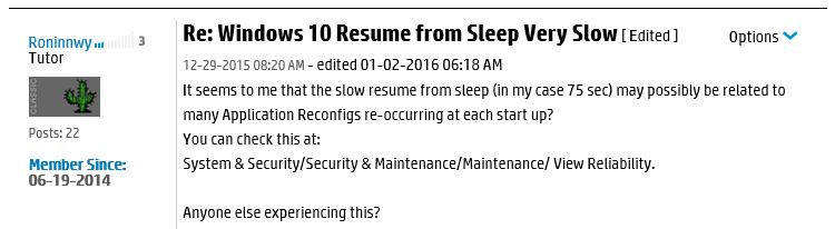 Sleep mode resume - Microsoft Community