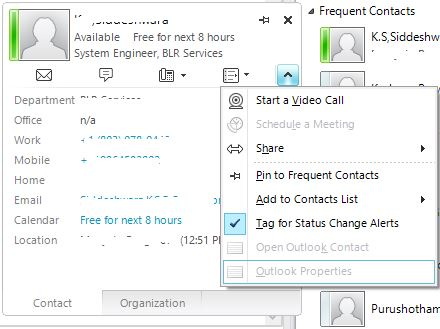 Unable to open Outlook properties from Lync 2010 contacts on