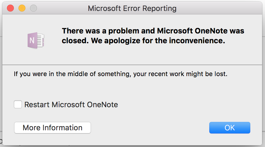 Onenote: not able to load pages, close notebooks, sync fail