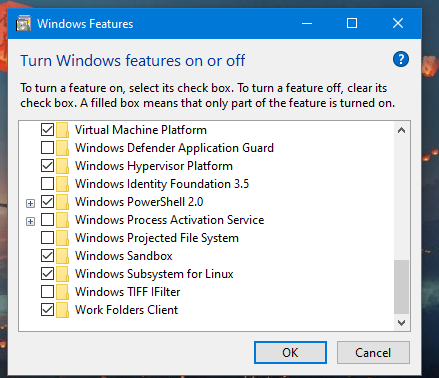 Unable to see Windows Sandbox in app in windows 10