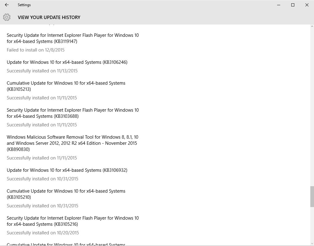 windows 10 1511 wont update