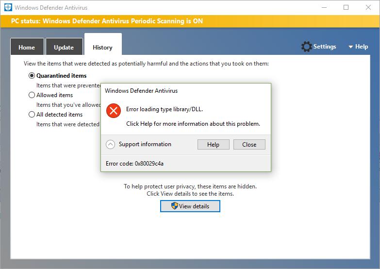 Windows Defender Antivirus, Error Code 0x80029c4a, Error loading