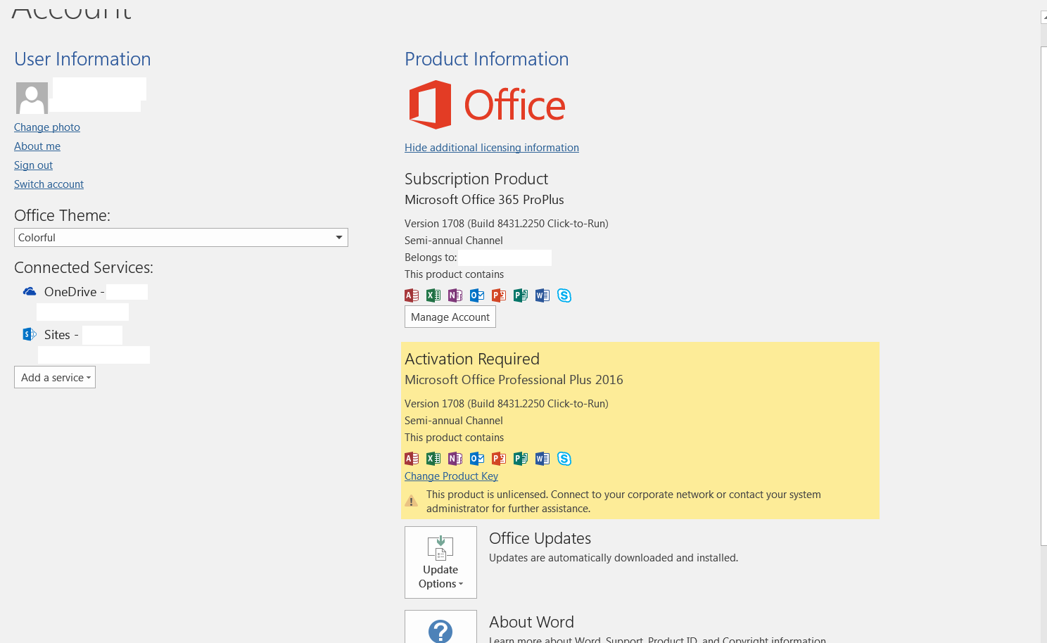 Activation of office 365