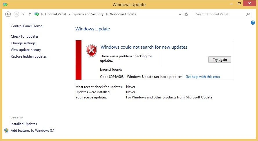 Problem with updating windows 8