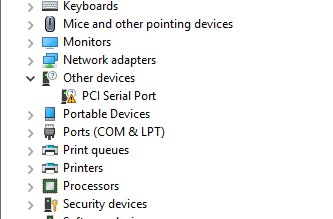 Yellow triangle in Device Manager under PCI Serial Port