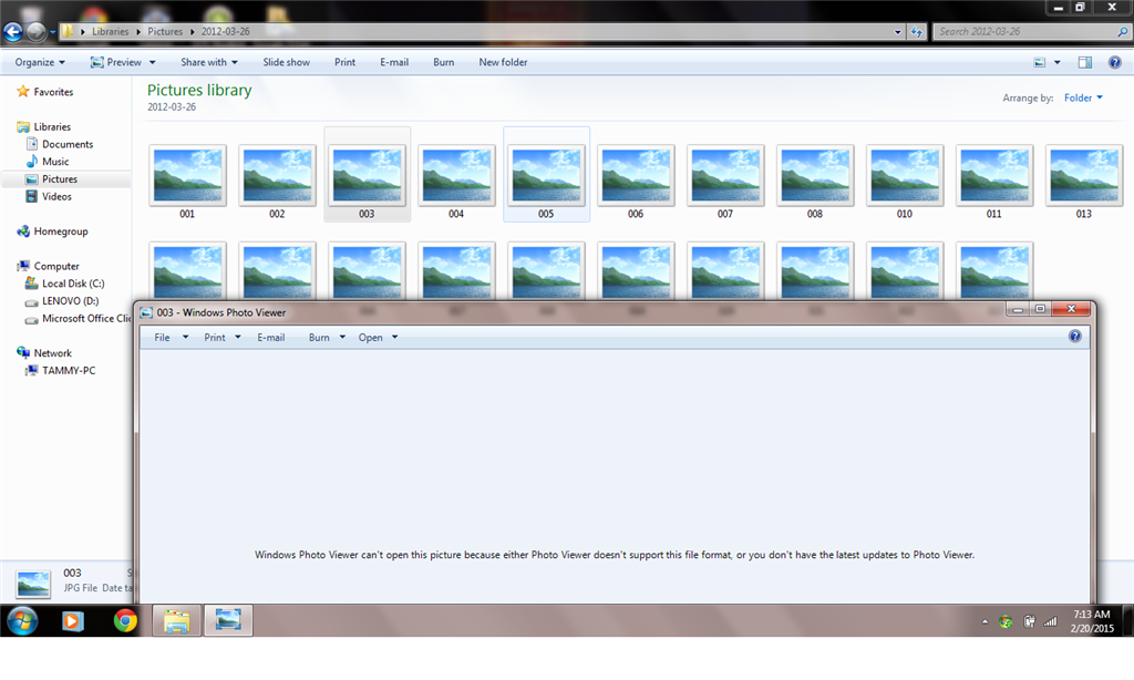 Can't access older pictures in Windows 7 Photo Viewer - Microsoft