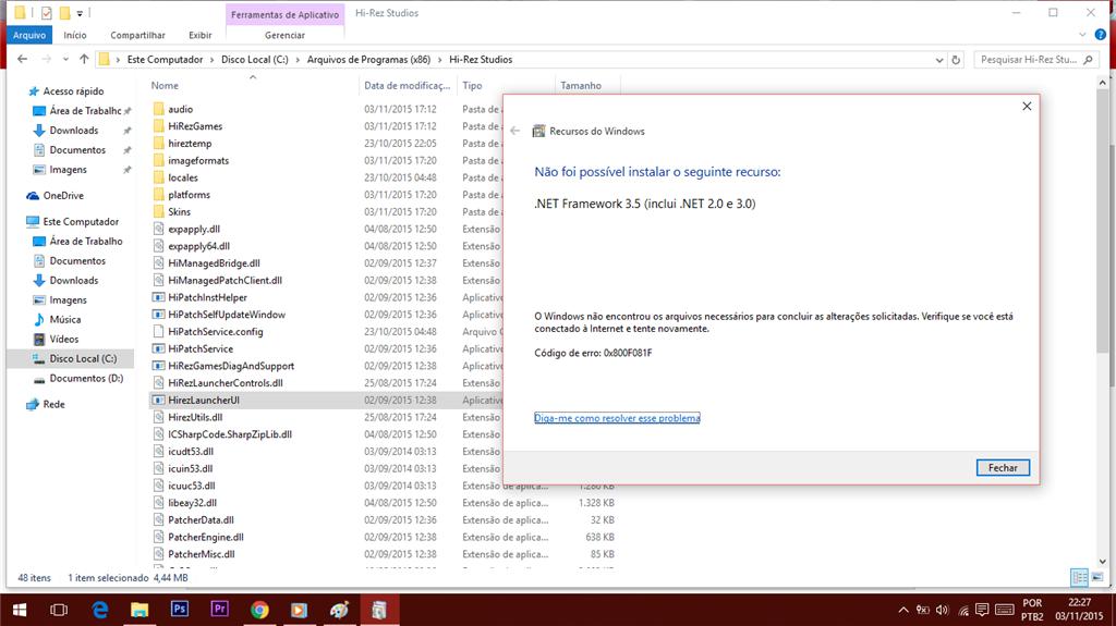 Windows Update, Net Framework 3 5 erro 0x800F081F