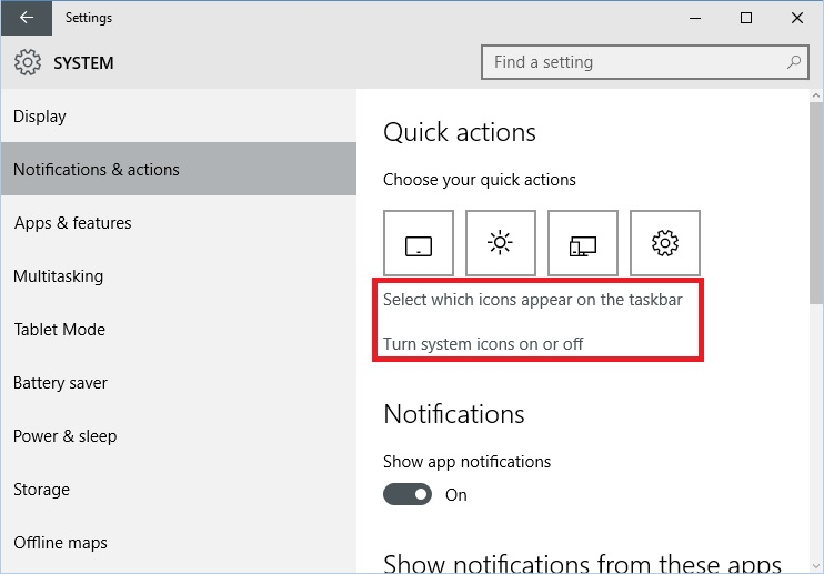 windows 10 how to clear customized notification area icons