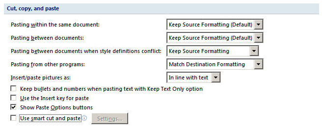 how to keep formatting when pasting between 2 word 2007 documents