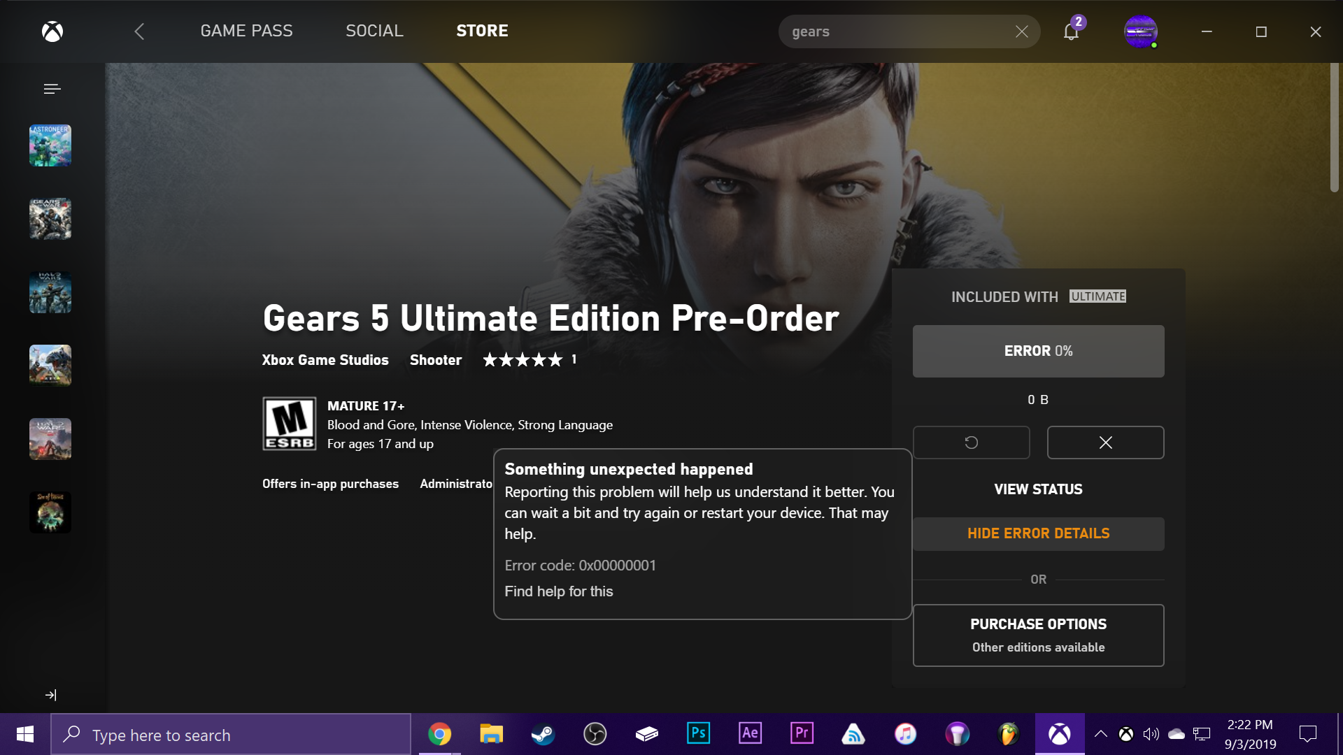 Can't pre-install Gears 5 with Xbox (Beta) app using Ultimate Game Pass [IMG]
