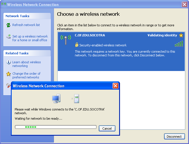 Wireless network validating identity problem try updating your current browser