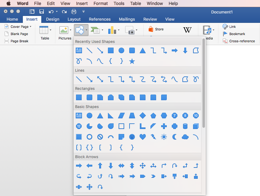 Inserting shapes into WORD doc - WORD for mac - Microsoft