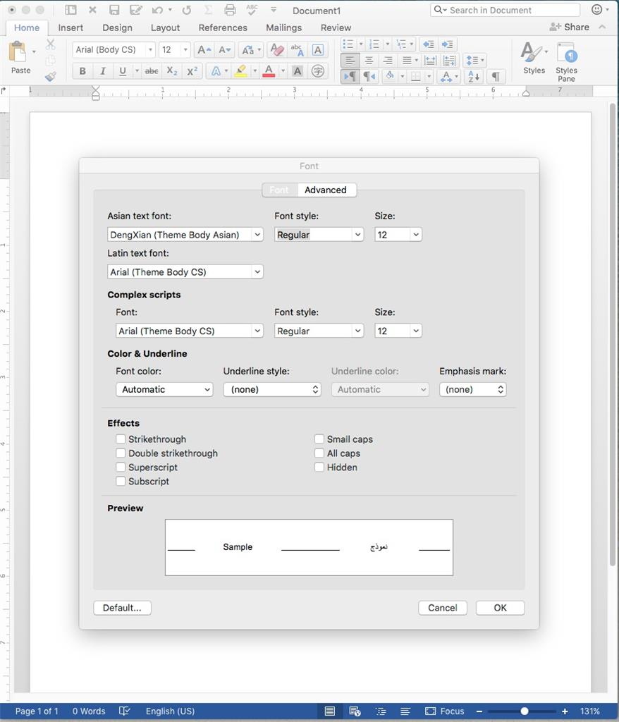 change default font mac word