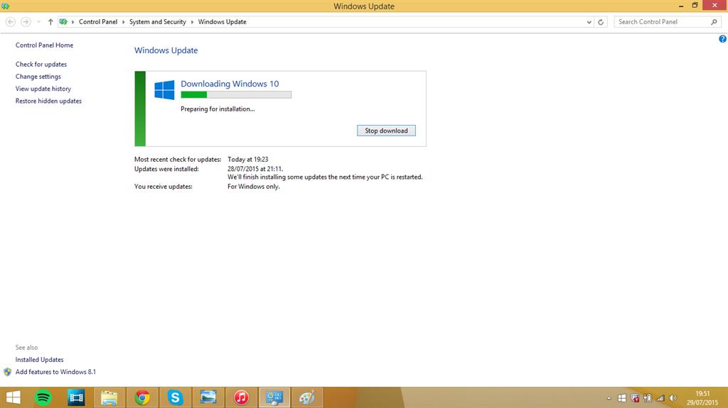 Windows 10 download stuck on 'Preparing for installation