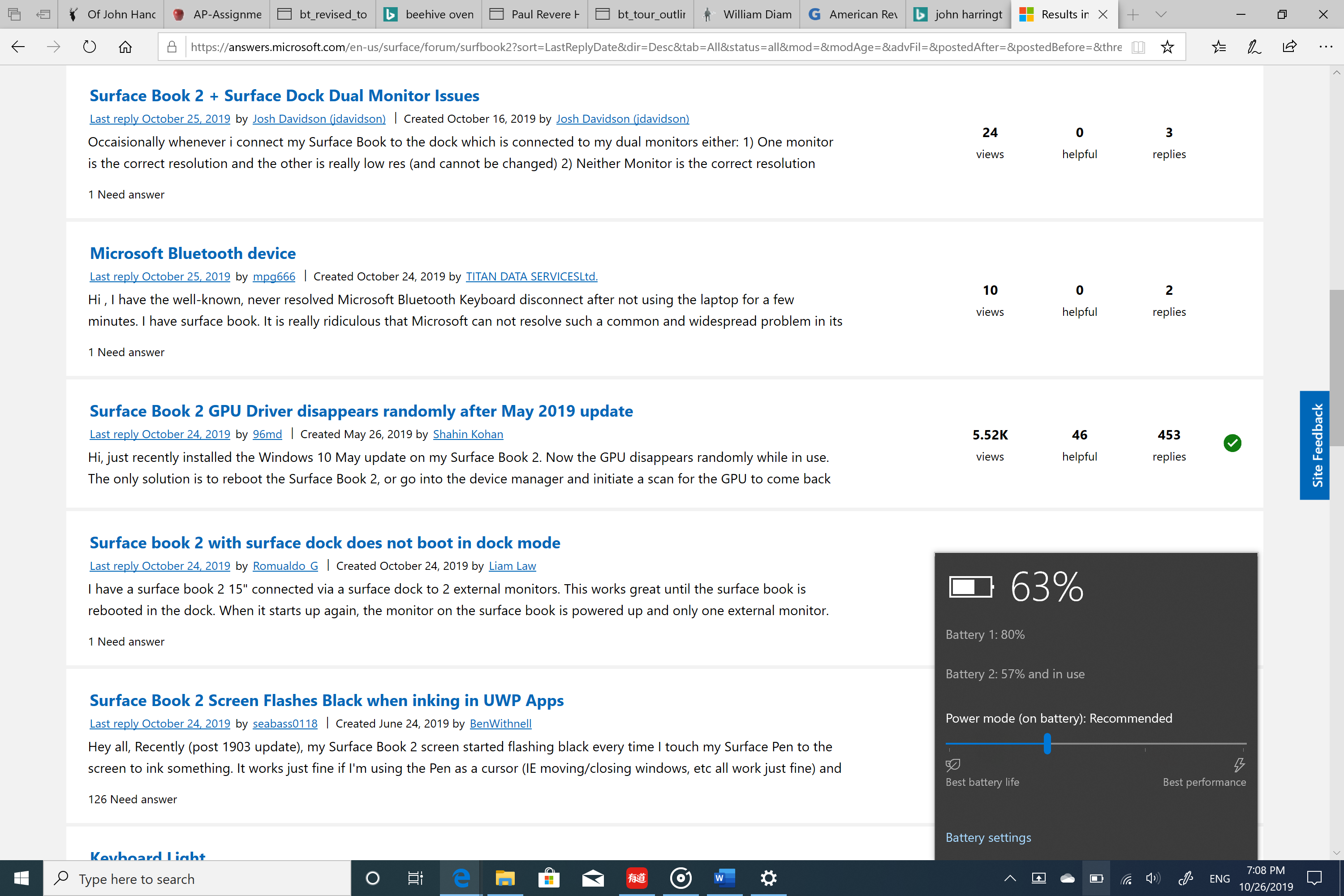 Surface book 2 Battery not in use - Microsoft Community