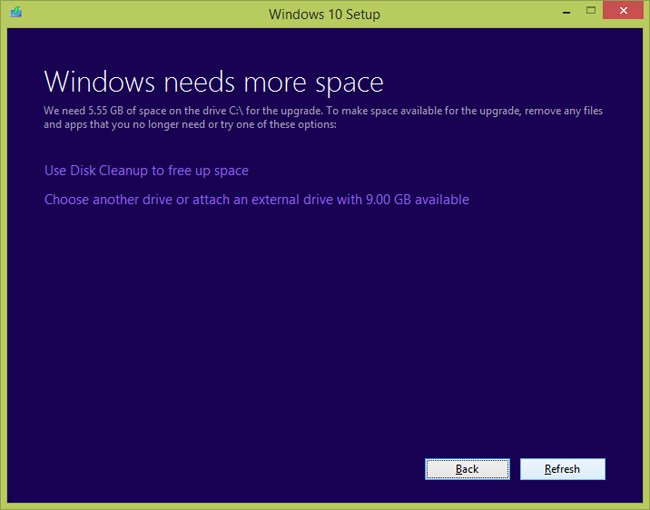 Microsoft Anniversary update not enough disk space