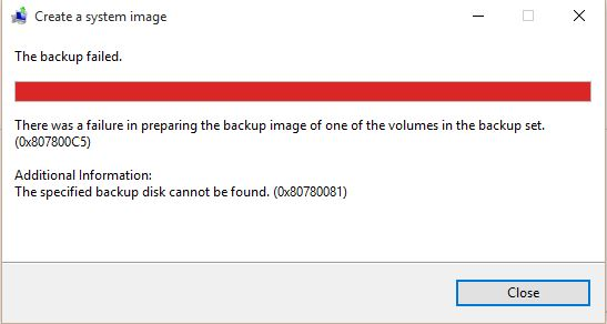 Windows 10 System Image backup failed  Error code (0x80780081