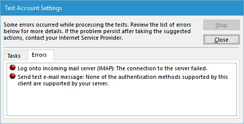 gmail connection errors