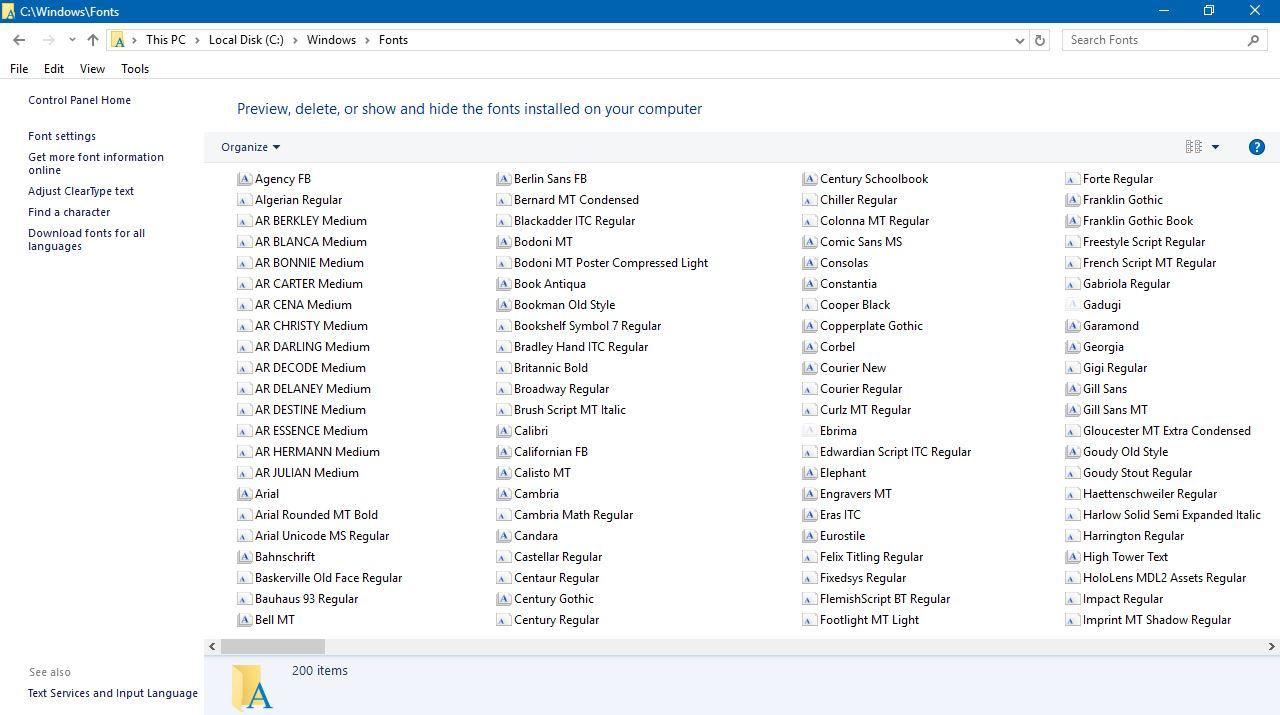Font List in Text File Windows 10 - Microsoft Community