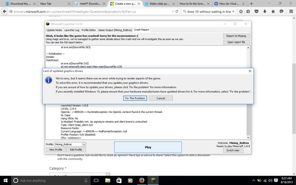 minecraft windows 10 edition error