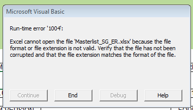 Excel file with macro accessing file on SharePoint: Error