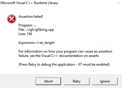 Microsoft Visual C++ Runtime Library Assertion Failed! - Microsoft