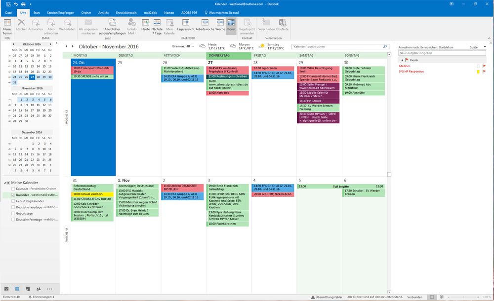 how to add a calendar in outlook 2016
