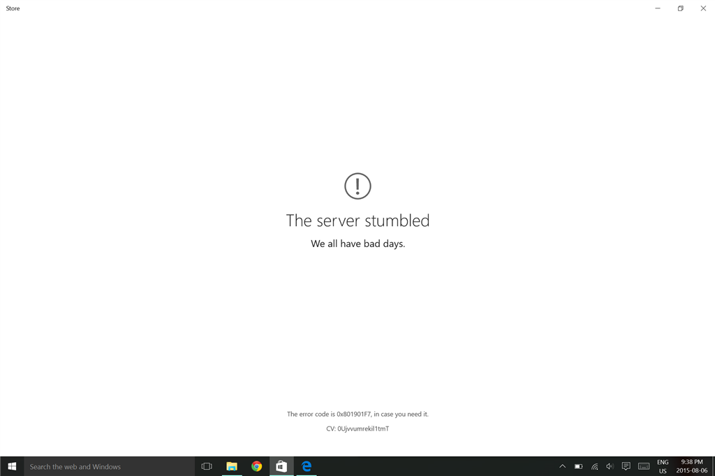 Windows 10 App Store Error - \