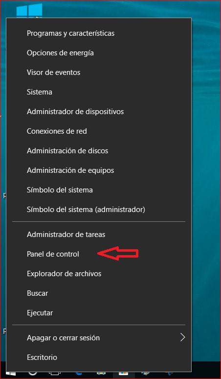 panel de control windows 10 ejecutar