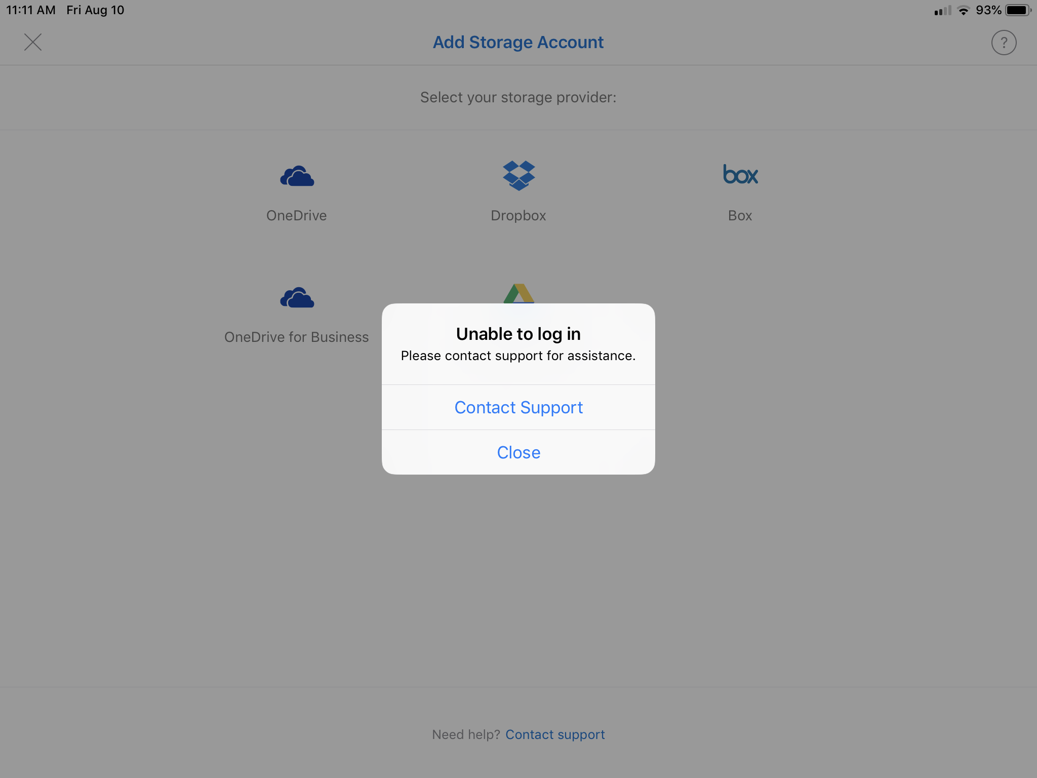 Outlook for IOS- Add Storage fails when adding a Google