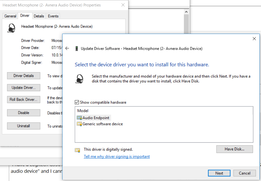 Need to manually specify driver for USB headset - Microsoft