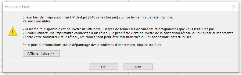 Probleme outlook memoire insuffisante