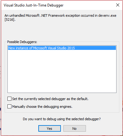 An unhandled Microsofr Net Framework exception occured in devenv exe